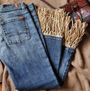 RARE 7 for All Mandkind BoyCut Boho Fringe Jeans